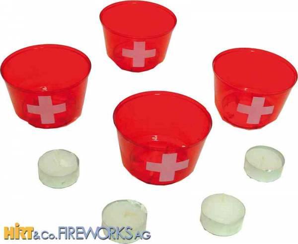 Leuchtbecher - Rot mit Schweizerkreuz